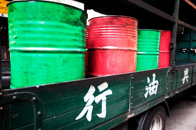 even oil drums are red and green