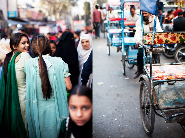 escaping from my lens onto a waiting rickshaw