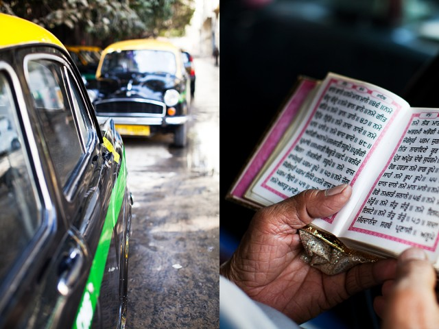 mobile gurudwara - reading prayers in his cab