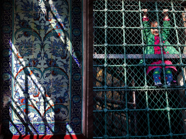 climbing the walls - Iznik tiles and kids at prayer time