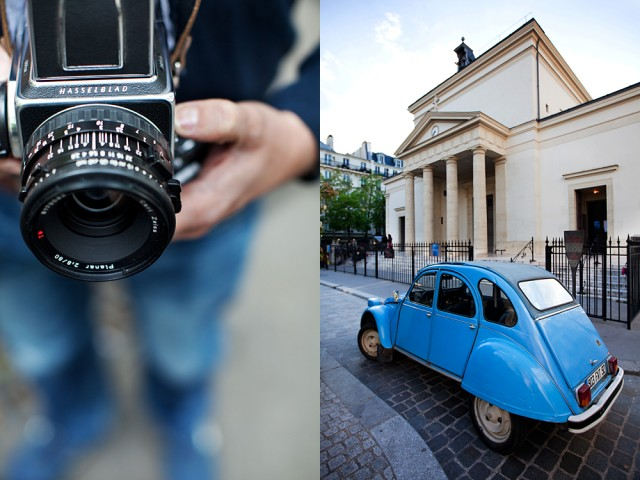 Bruno and his Hasselblad outside the church