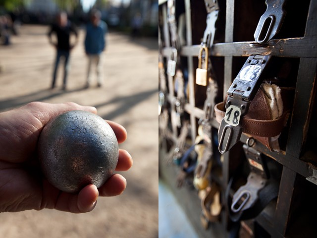 one's boules are kept under lock and key