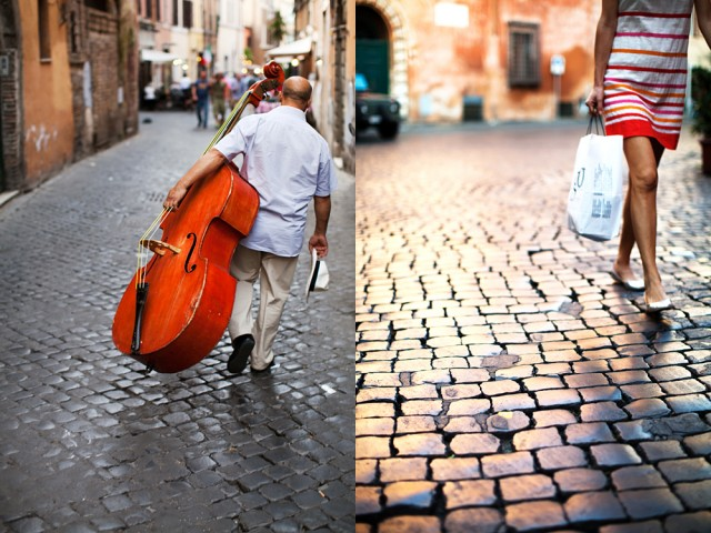 different walks of life - the busker and the beauty
