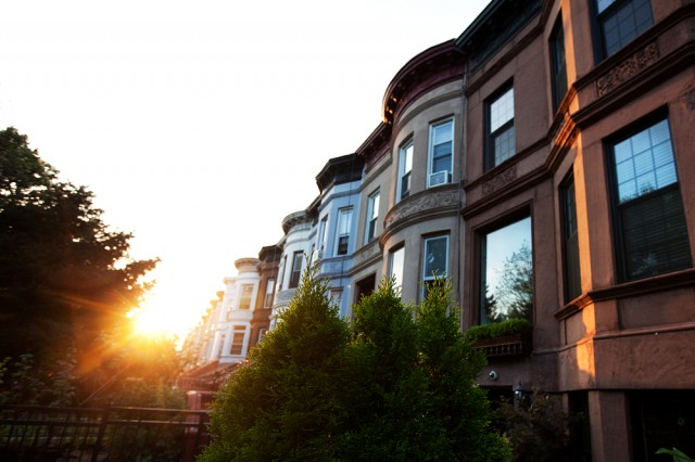 brownstones in golden light