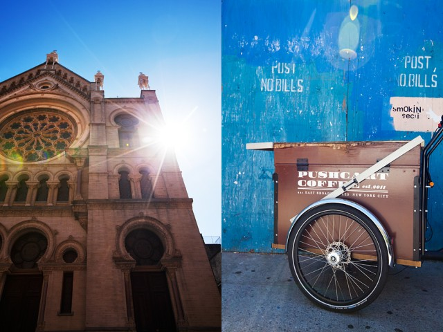 same vintage - the synagogue and the pushcarts