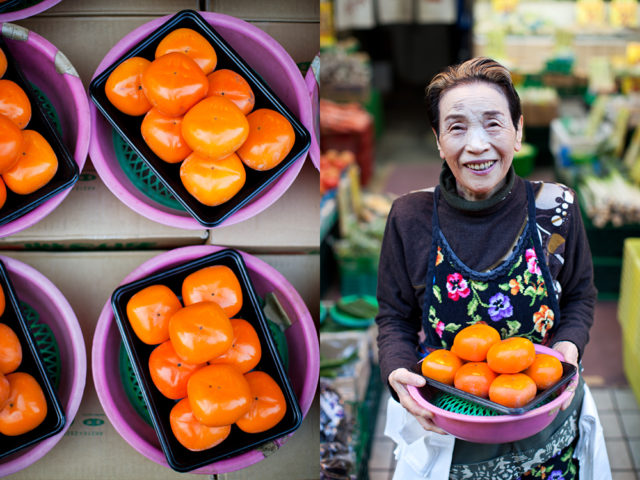 Toshi and her kaki - Japanese Persimmon