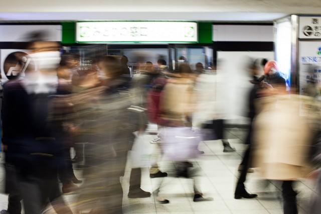 rush hour on Tokyo subway