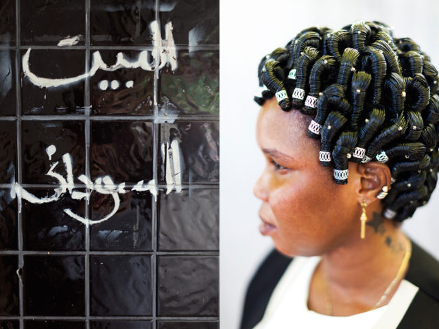"transplanted traditions - ""It takes six hours for them to do my hair like this and it lasts four months"" - Daruka from Sudan"