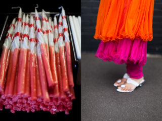 twirls - candles from the Macedonian church and Priyanka's dress