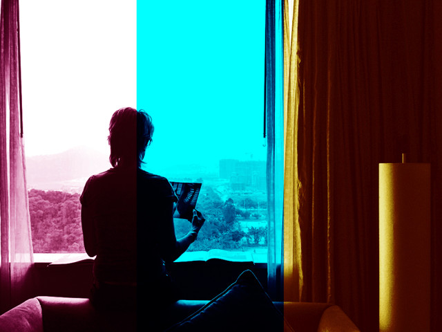magenta, cyan and yellow - checking colour in our hotel room