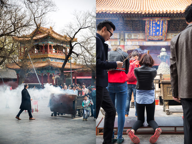 a young crowd in an ancient setting – Yonghe Lama Temple :: 1