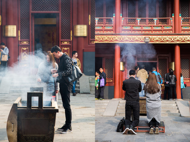 a young crowd in an ancient setting – Yonghe Lama Temple :: 2
